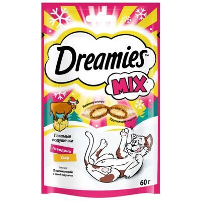 КОРМ DREAMIES C ГОВЯДИНОЙ И СЫРОМ  60г